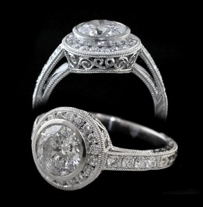 Hand-Milgrained Engagement Ring