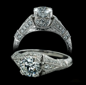 Hand-Engraved Engagement Ring by Carl Blackburn