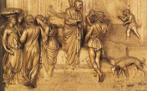 "A scene from the ""Gates of Paradise"" at the Florence Baptistery by Lorenzo Ghiberti (1401)."
