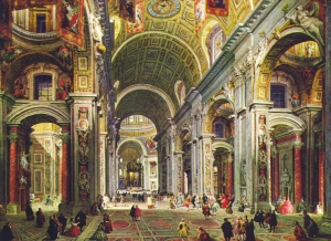 The interior of St. Peter's Basilica (designed by Bramante) as painted by Giovanni Paolo Panini.