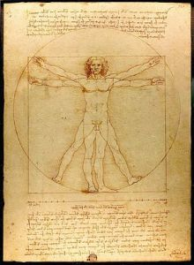 The Vitruvian Man, as drawn with pen and ink by Leonardo da Vinci. Circa 1490